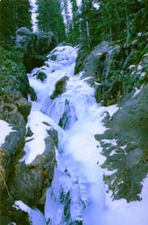 Frozen Sangre de Cristo waterfall